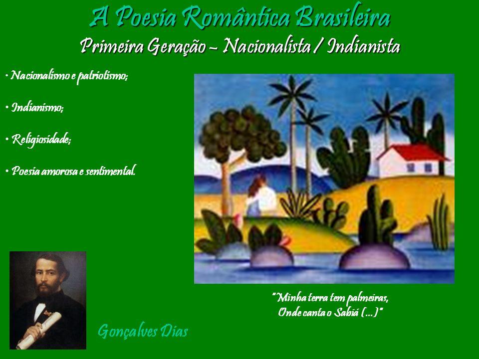 A Poesia Romântica Brasileira Primeira Geração – Nacionalista / Indianista Nacionalismo e patriotismo; Indianismo; Religiosidade; Poesia amorosa e sen