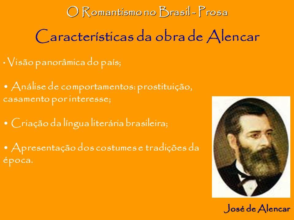 O Romantismo no Brasil - Prosa José de Alencar Visão panorâmica do país; Análise de comportamentos: prostituição, casamento por interesse; Criação da