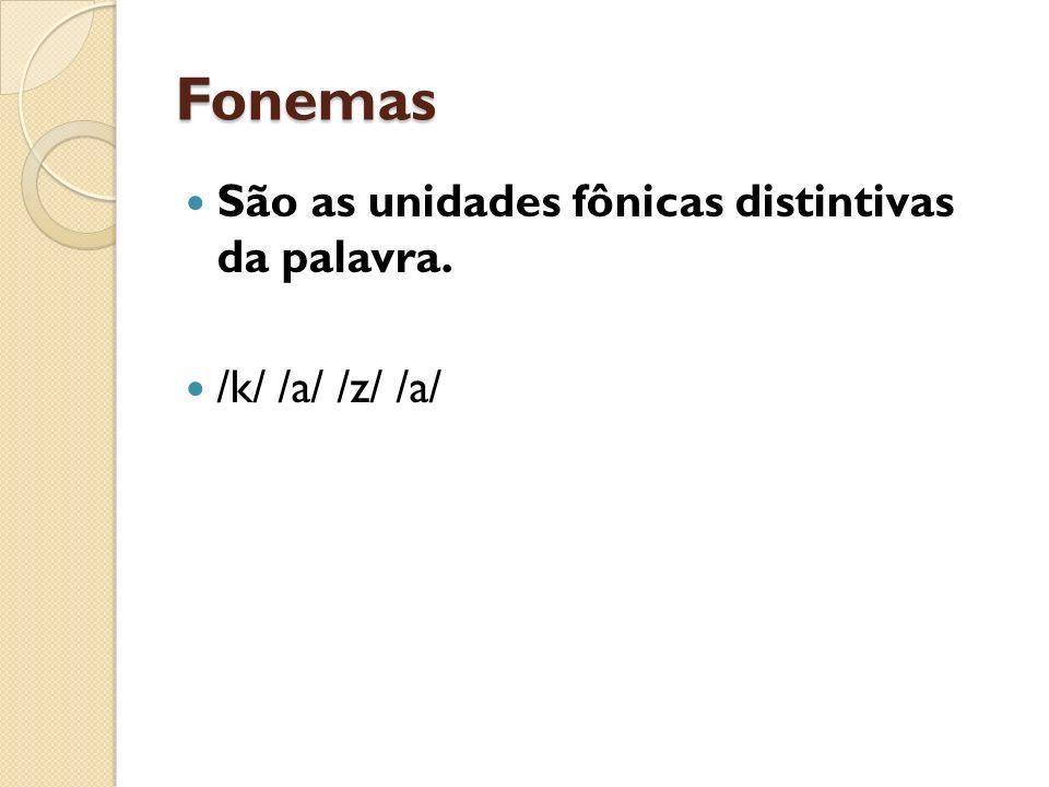 Fonemas São as unidades fônicas distintivas da palavra. /k/ /a/ /z/ /a/