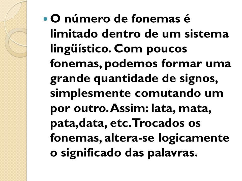 O número de fonemas é limitado dentro de um sistema lingüístico. Com poucos fonemas, podemos formar uma grande quantidade de signos, simplesmente comu