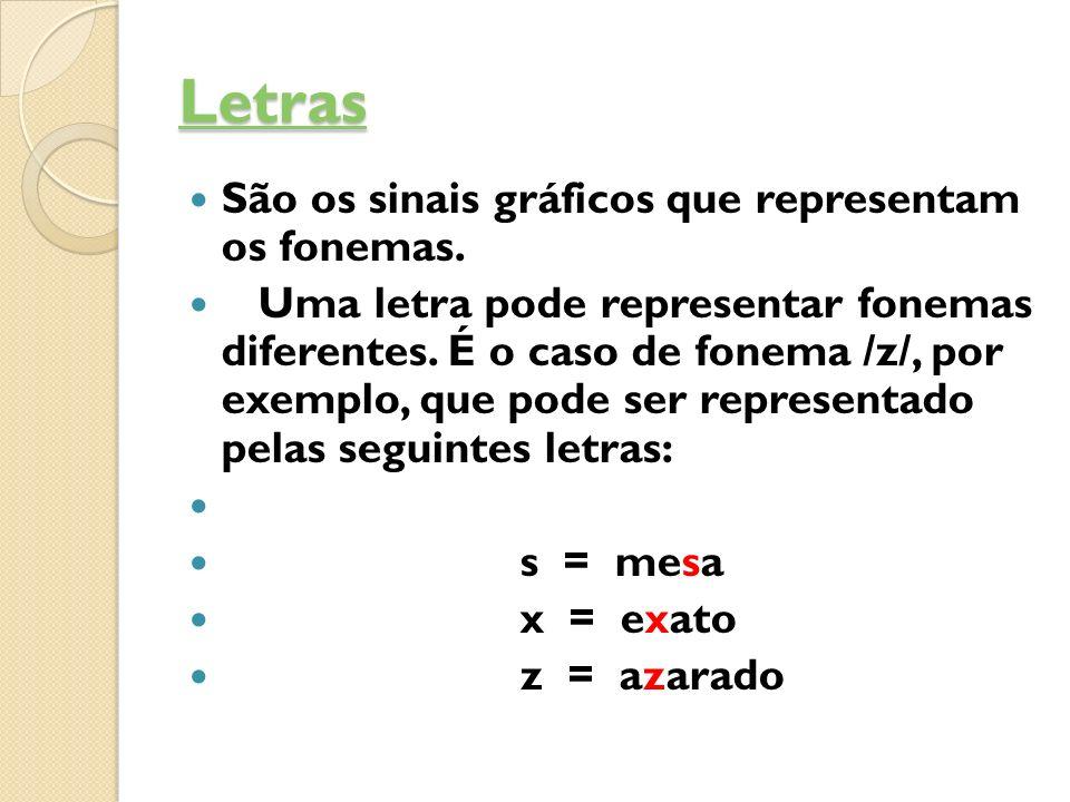 Letras São os sinais gráficos que representam os fonemas. Uma letra pode representar fonemas diferentes. É o caso de fonema /z/, por exemplo, que pode