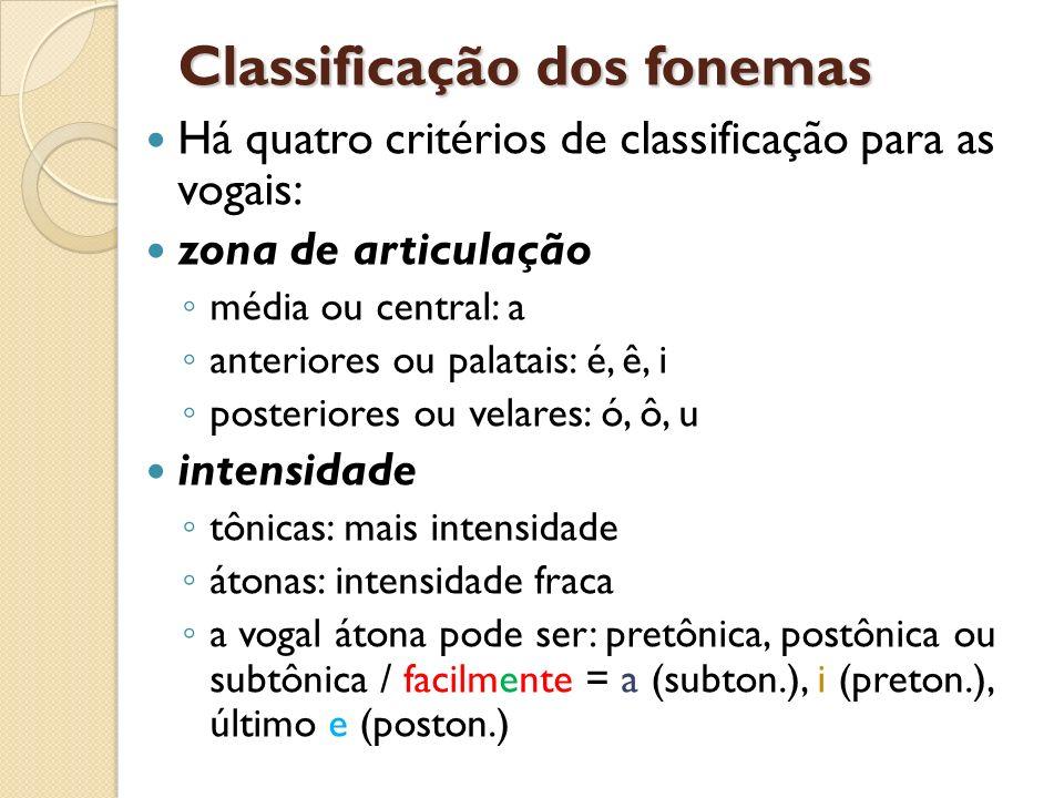 Classificação dos fonemas Há quatro critérios de classificação para as vogais: zona de articulação média ou central: a anteriores ou palatais: é, ê, i