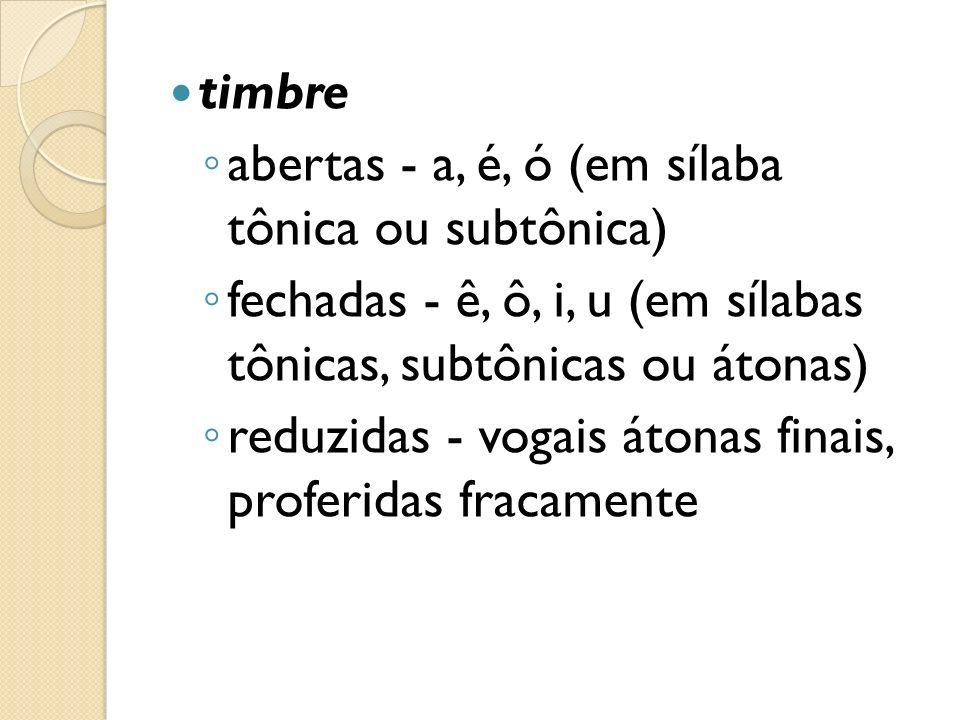timbre abertas - a, é, ó (em sílaba tônica ou subtônica) fechadas - ê, ô, i, u (em sílabas tônicas, subtônicas ou átonas) reduzidas - vogais átonas fi