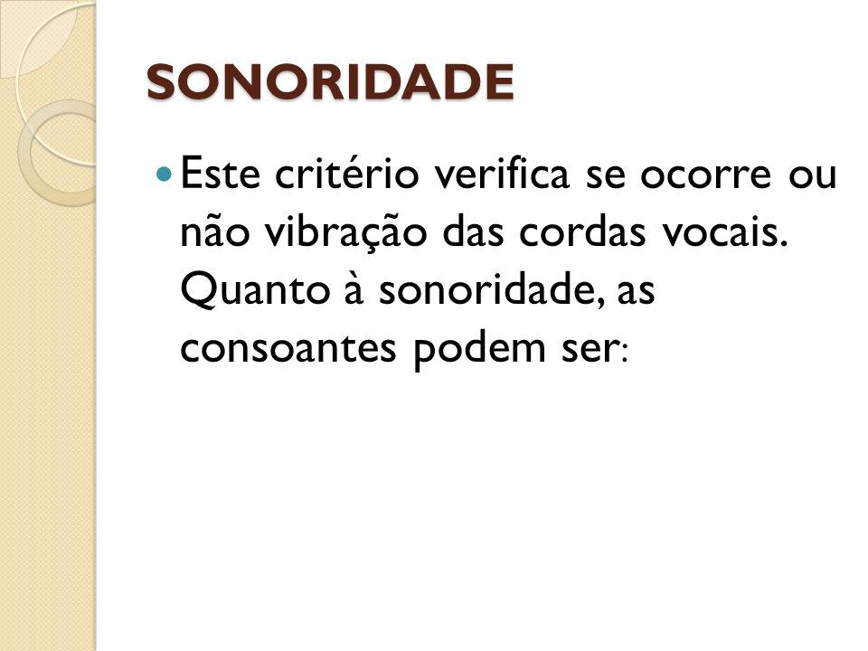 SONORIDADE Este critério verifica se ocorre ou não vibração das cordas vocais. Quanto à sonoridade, as consoantes podem ser :