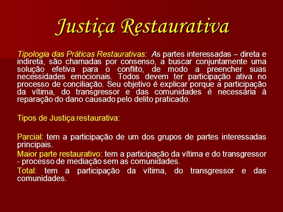 Justiça Restaurativa Tipologia das Práticas Restaurativas: As partes interessadas – direta e indireta, são chamadas por consenso, a buscar conjuntamen