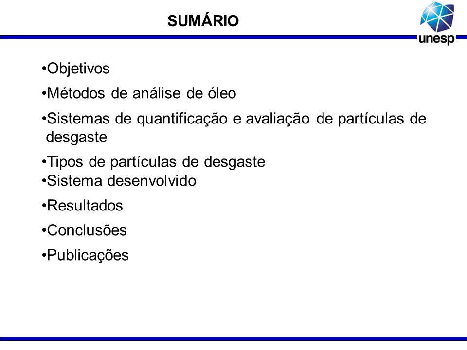 Objetivos Métodos de análise de óleo Sistemas de quantificação e avaliação de partículas de.desgaste Tipos de partículas de desgaste Sistema desenvolv