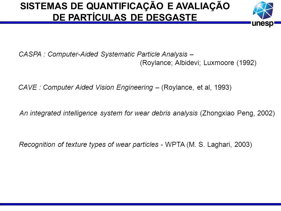 SISTEMAS DE QUANTIFICAÇÃO E AVALIAÇÃO DE PARTÍCULAS DE DESGASTE An integrated intelligence system for wear debris analysis (Zhongxiao Peng, 2002) CASP