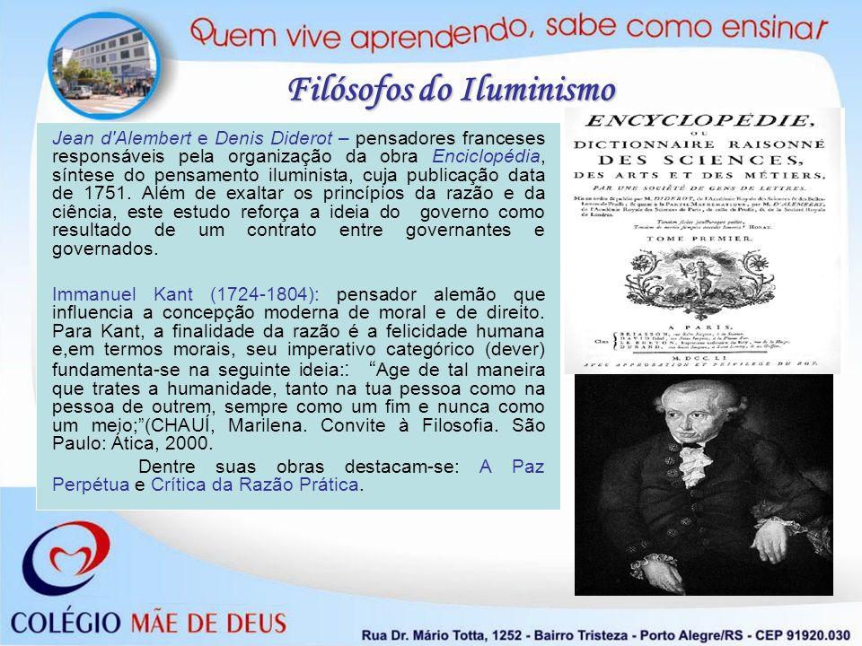 Jean d'Alembert e Denis Diderot – pensadores franceses responsáveis pela organização da obra Enciclopédia, síntese do pensamento iluminista, cuja publ