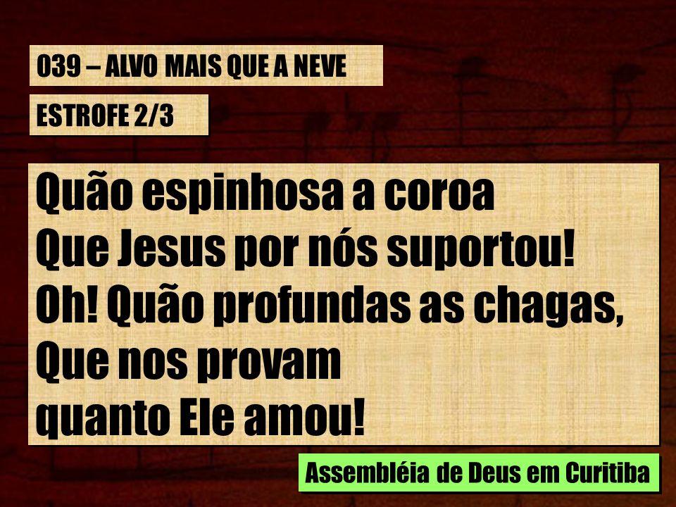 ESTROFE 2/3 Quão espinhosa a coroa Que Jesus por nós suportou! Oh! Quão profundas as chagas, Que nos provam quanto Ele amou! Quão espinhosa a coroa Qu