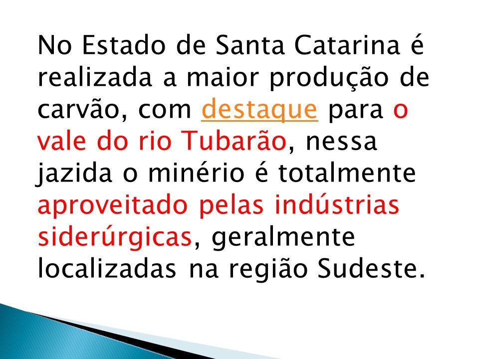 No Estado de Santa Catarina é realizada a maior produção de carvão, com destaque para o vale do rio Tubarão, nessa jazida o minério é totalmente aprov
