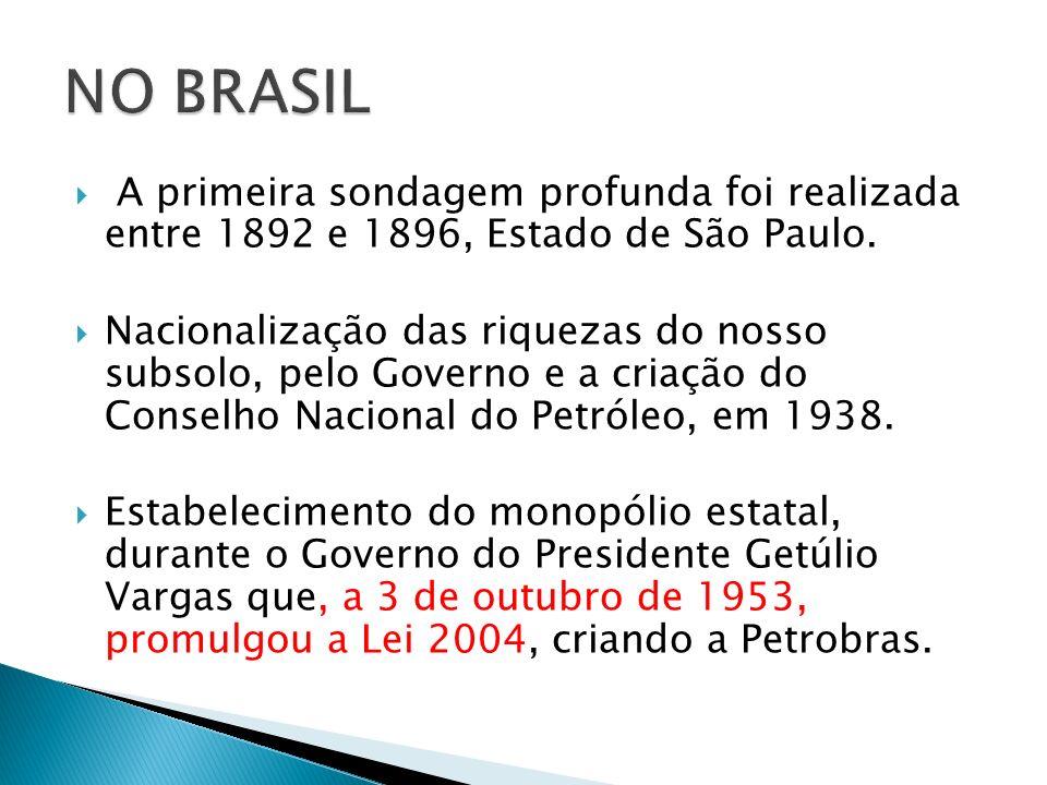 A primeira sondagem profunda foi realizada entre 1892 e 1896, Estado de São Paulo. Nacionalização das riquezas do nosso subsolo, pelo Governo e a cria