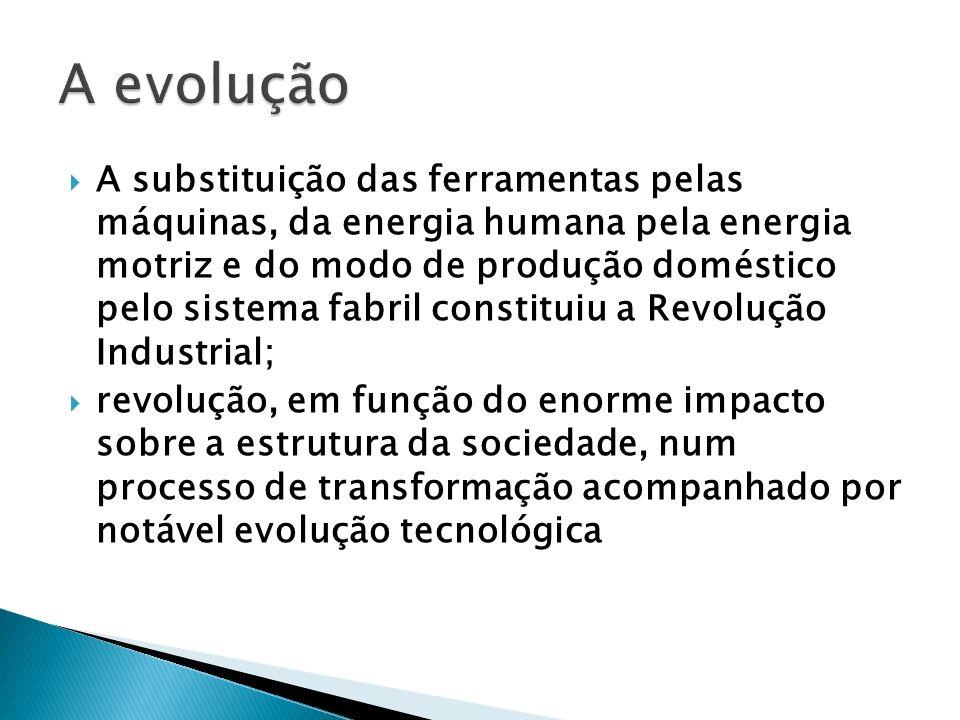 A substituição das ferramentas pelas máquinas, da energia humana pela energia motriz e do modo de produção doméstico pelo sistema fabril constituiu a