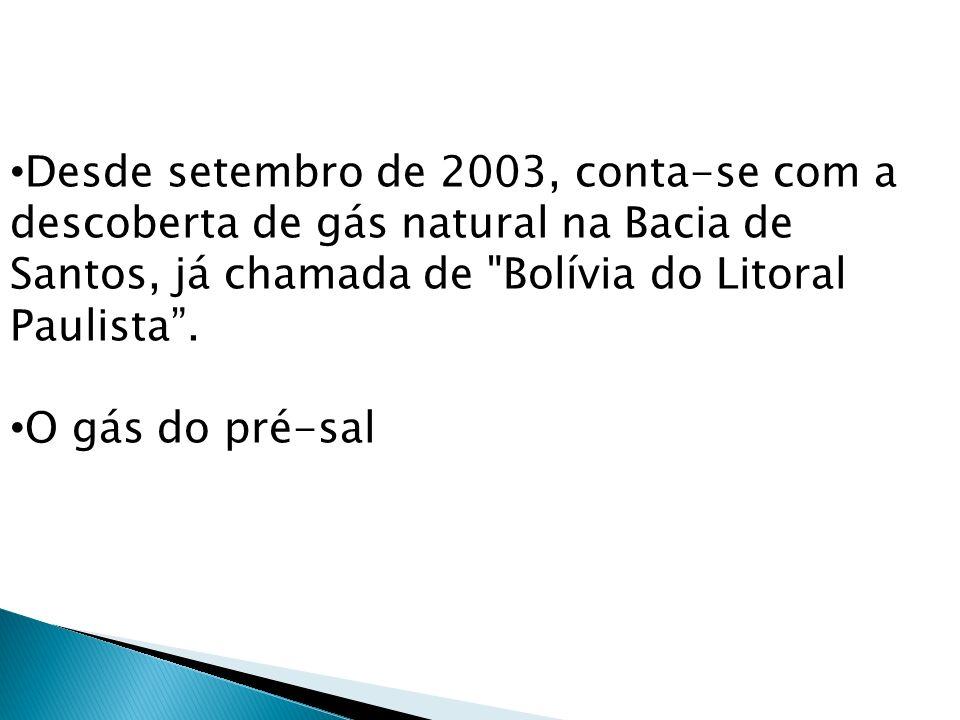 Desde setembro de 2003, conta-se com a descoberta de gás natural na Bacia de Santos, já chamada de