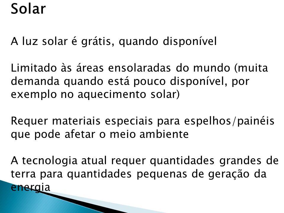 Solar A luz solar é grátis, quando disponível Limitado às áreas ensolaradas do mundo (muita demanda quando está pouco disponível, por exemplo no aquec