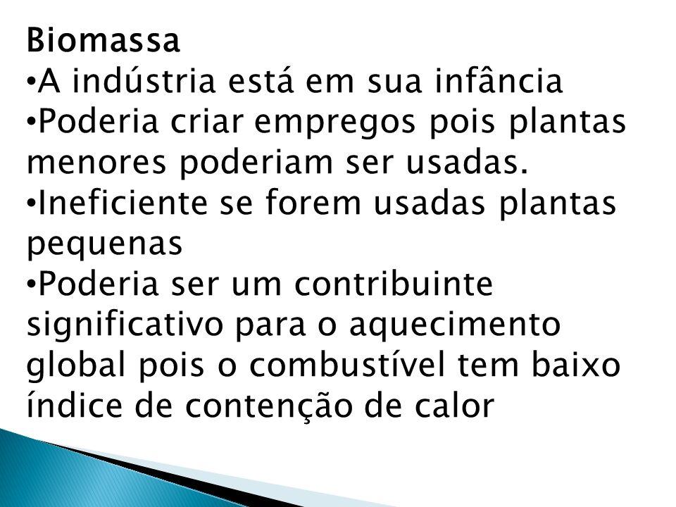 Biomassa A indústria está em sua infância Poderia criar empregos pois plantas menores poderiam ser usadas. Ineficiente se forem usadas plantas pequena