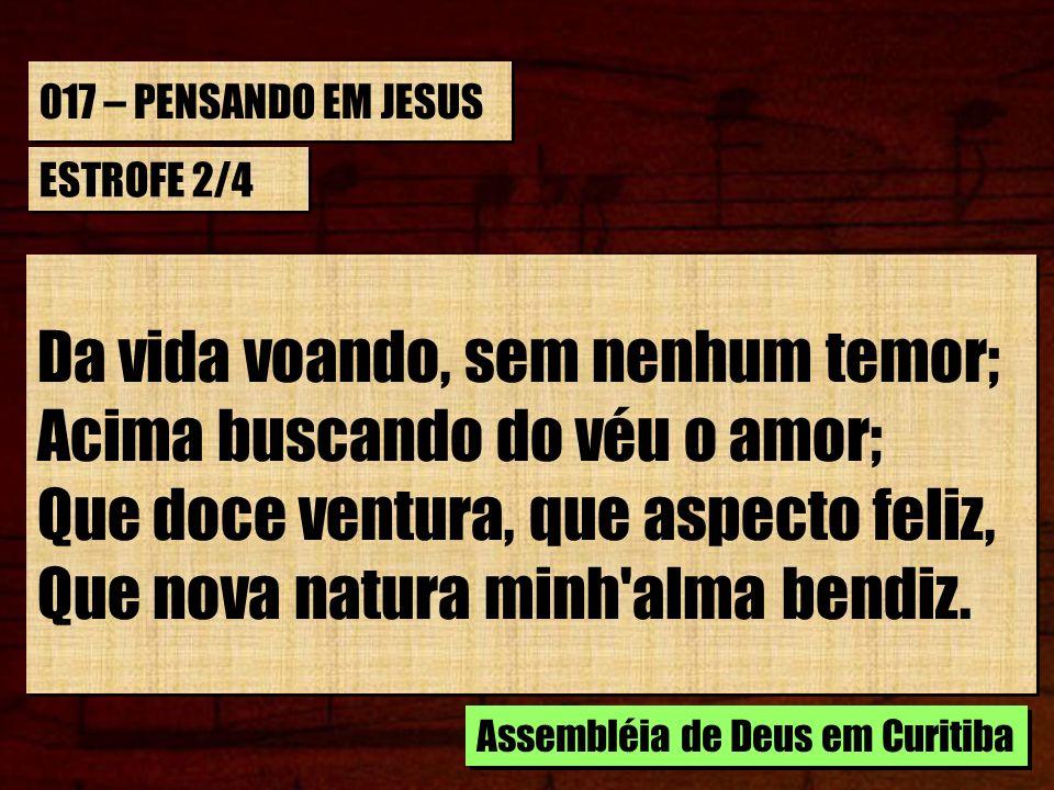 017 – PENSANDO EM JESUS ESTROFE 2/4 Da vida voando, sem nenhum temor; Acima buscando do véu o amor; Que doce ventura, que aspecto feliz, Que nova natu