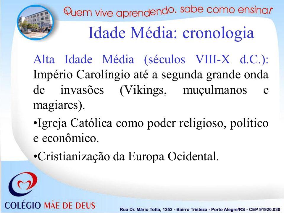 Idade Média: cronologia Alta Idade Média (séculos VIII-X d.C.): Império Carolíngio até a segunda grande onda de invasões (Vikings, muçulmanos e magiar