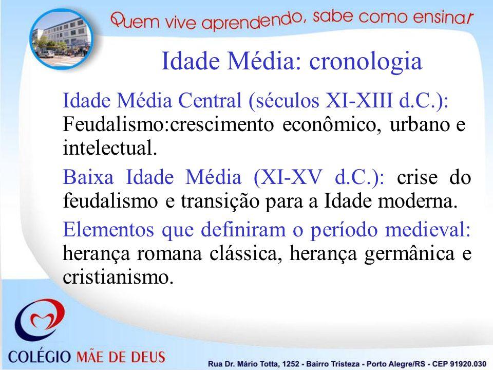 Idade Média Central (séculos XI-XIII d.C.): Feudalismo:crescimento econômico, urbano e intelectual. Baixa Idade Média (XI-XV d.C.): crise do feudalism