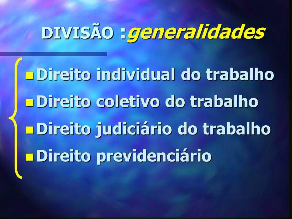 DIVISÃO :generalidades DIVISÃO :generalidades n Direito individual do trabalho n Direito coletivo do trabalho n Direito judiciário do trabalho n Direi