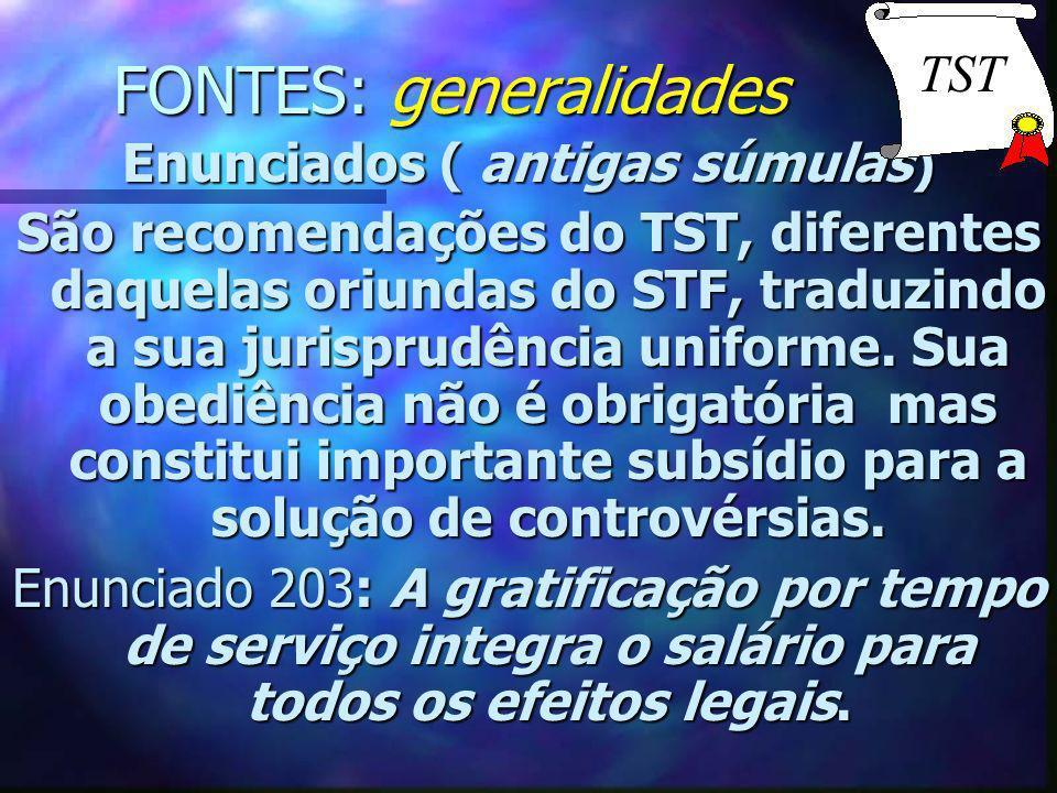 FONTES: generalidades Enunciados ( antigas súmulas) São recomendações do TST, diferentes daquelas oriundas do STF, traduzindo a sua jurisprudência uni