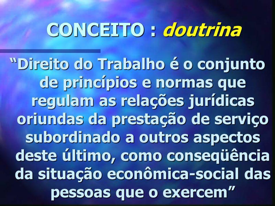 CONCEITO : doutrina CONCEITO : doutrina Direito do Trabalho é o conjunto de princípios e normas que regulam as relações jurídicas oriundas da prestaçã