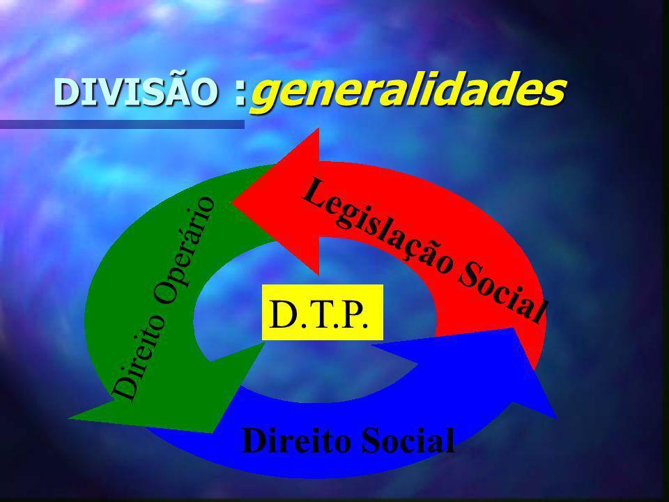 DIVISÃO :generalidades DIVISÃO :generalidades Direito Operário Legislação Social Direito Social D.T.P.