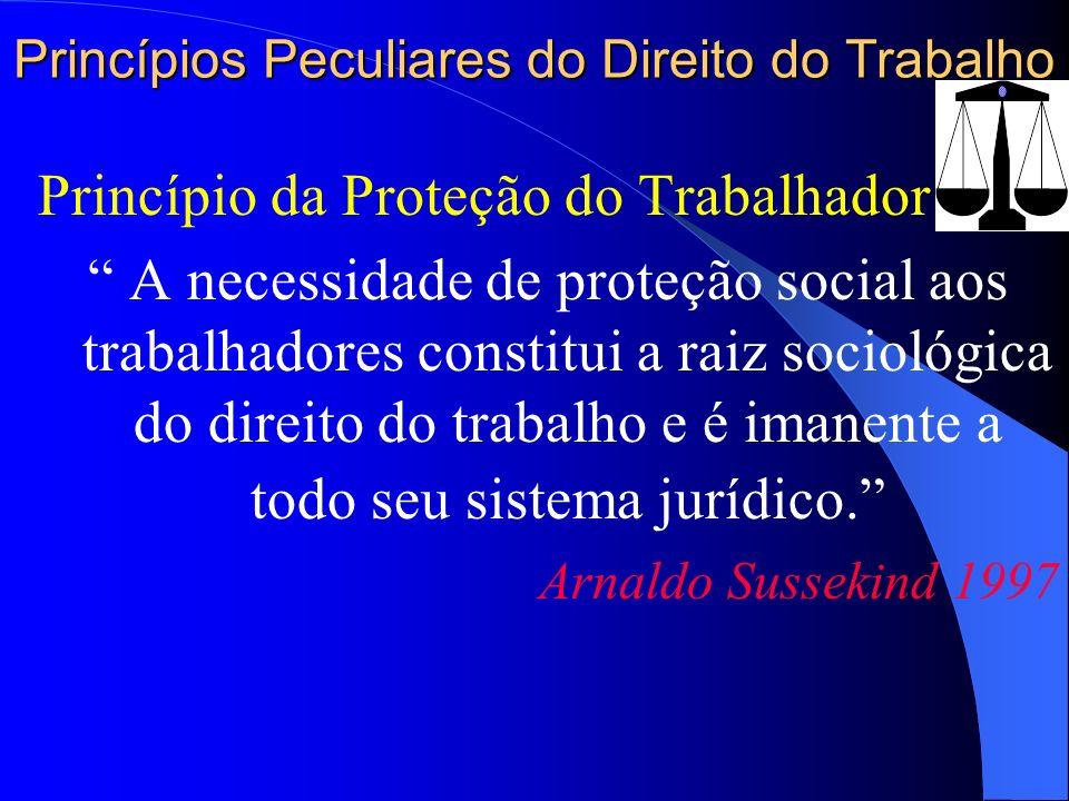 Princípios Peculiares do Direito do Trabalho Princípio da Proteção do Trabalhador A necessidade de proteção social aos trabalhadores constitui a raiz