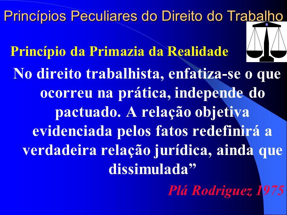Princípios Peculiares do Direito do Trabalho Princípio da Primazia da Realidade No direito trabalhista, enfatiza-se o que ocorreu na prática, independ