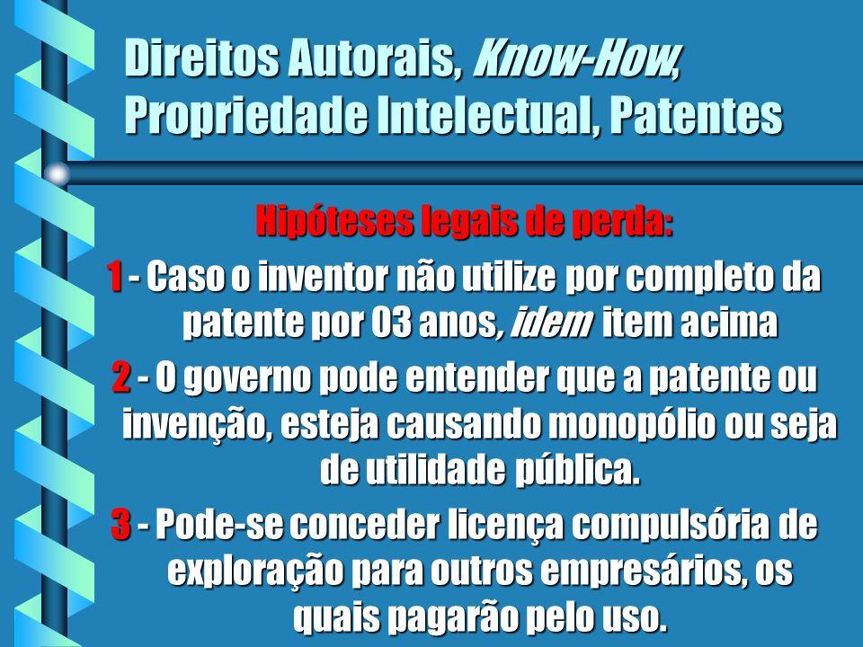 Direitos Autorais, Know-How, Propriedade Intelectual, Patentes Hipóteses legais de perda: 1 - Caso o inventor não utilize por completo da patente por