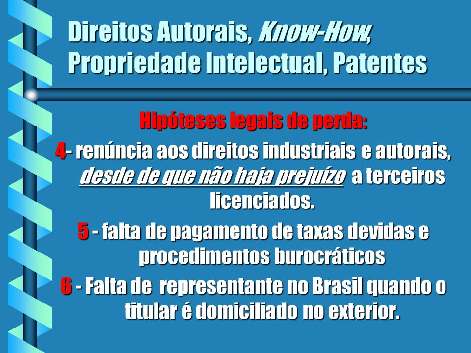 Direitos Autorais, Know-How, Propriedade Intelectual, Patentes Hipóteses legais de perda: 4- renúncia aos direitos industriais e autorais, desde de qu