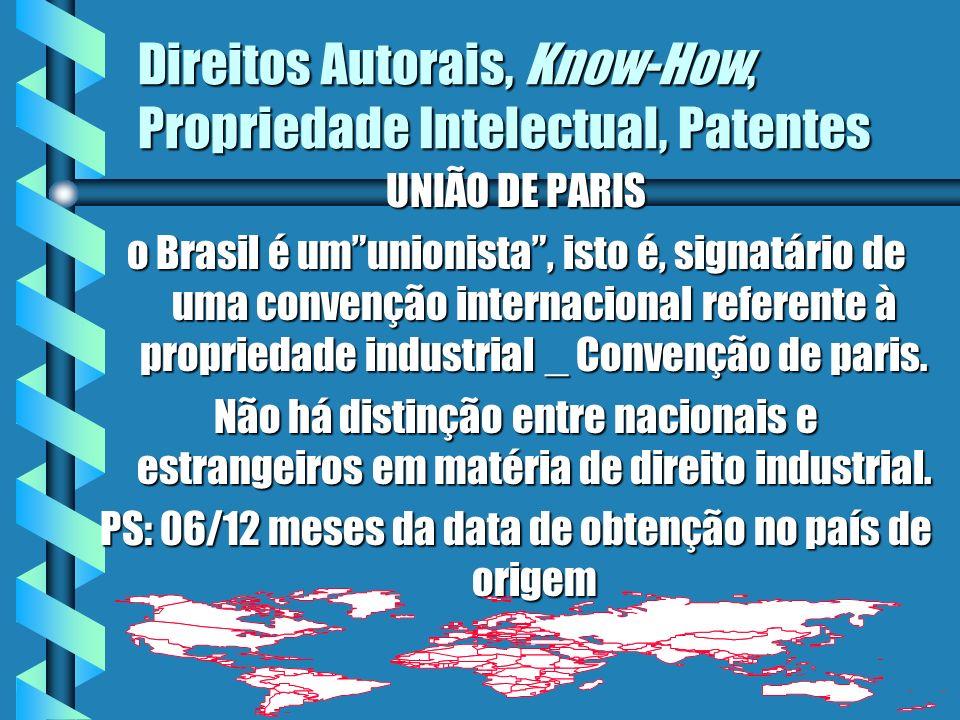 Direitos Autorais, Know-How, Propriedade Intelectual, Patentes UNIÃO DE PARIS o Brasil é umunionista, isto é, signatário de uma convenção internaciona