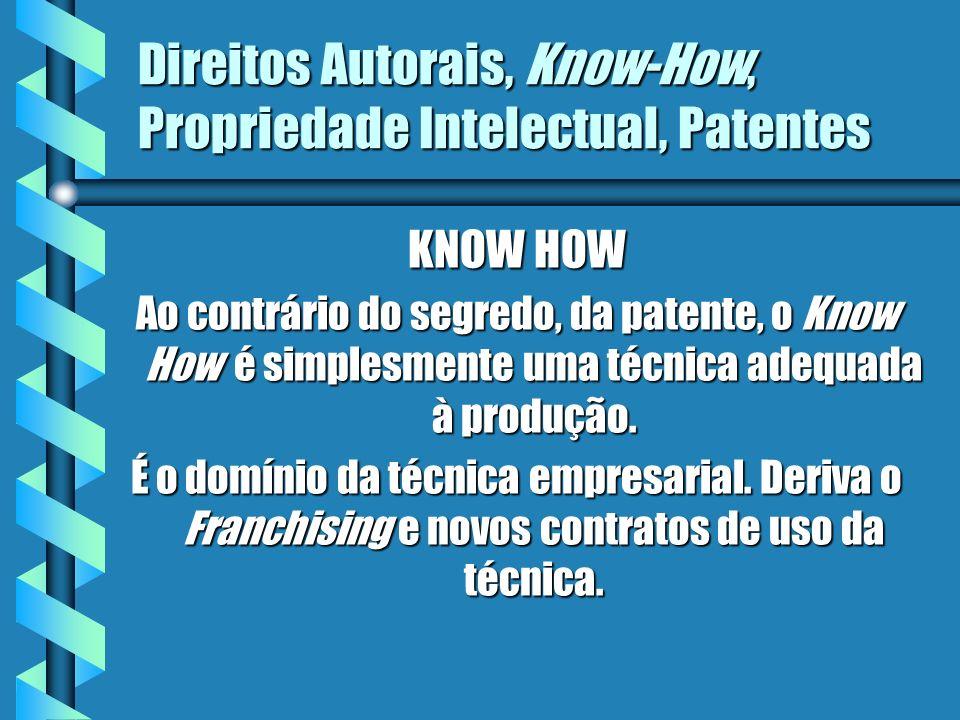 Direitos Autorais, Know-How, Propriedade Intelectual, Patentes KNOW HOW Ao contrário do segredo, da patente, o Know How é simplesmente uma técnica ade