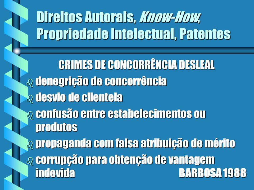 Direitos Autorais, Know-How, Propriedade Intelectual, Patentes CRIMES DE CONCORRÊNCIA DESLEAL b denegrição de concorrência b desvio de clientela b con