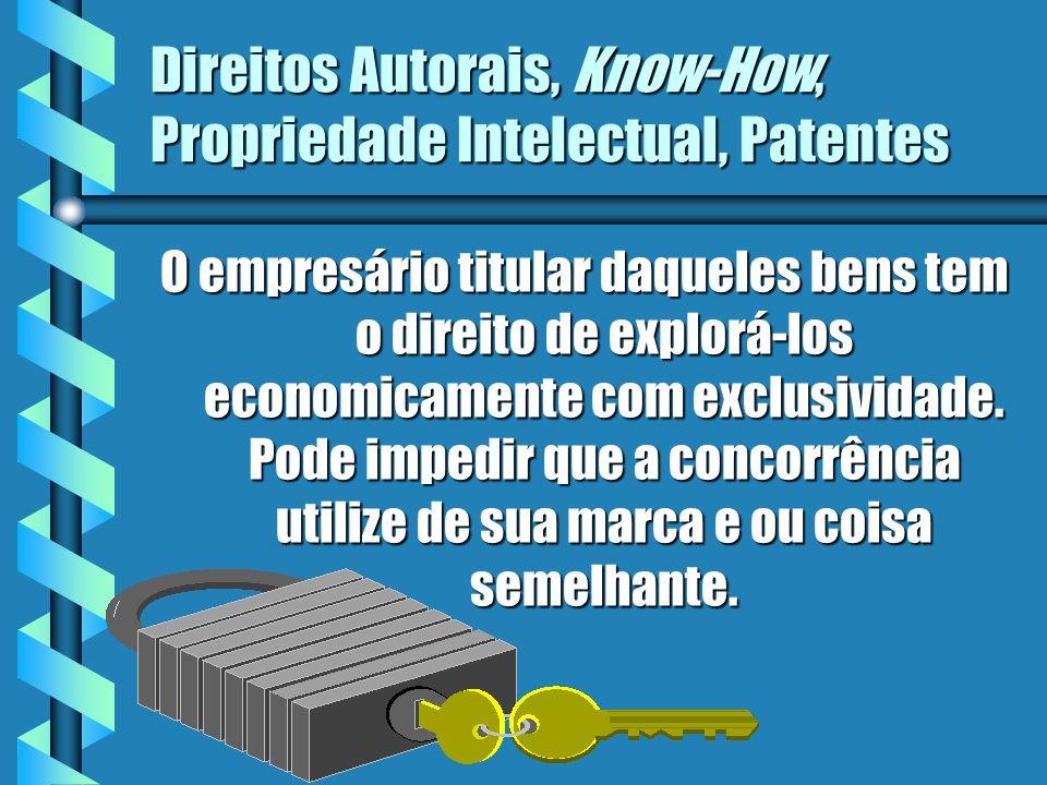 Direitos Autorais, Know-How, Propriedade Intelectual, Patentes O empresário titular daqueles bens tem o direito de explorá-los economicamente com excl