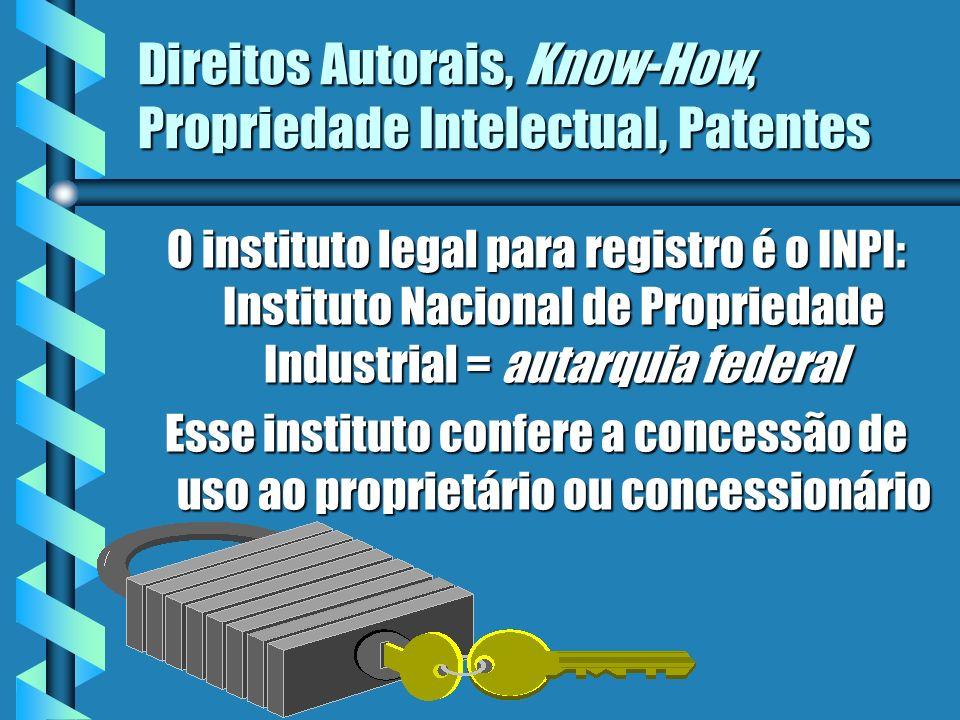 Direitos Autorais, Know-How, Propriedade Intelectual, Patentes O instituto legal para registro é o INPI: Instituto Nacional de Propriedade Industrial