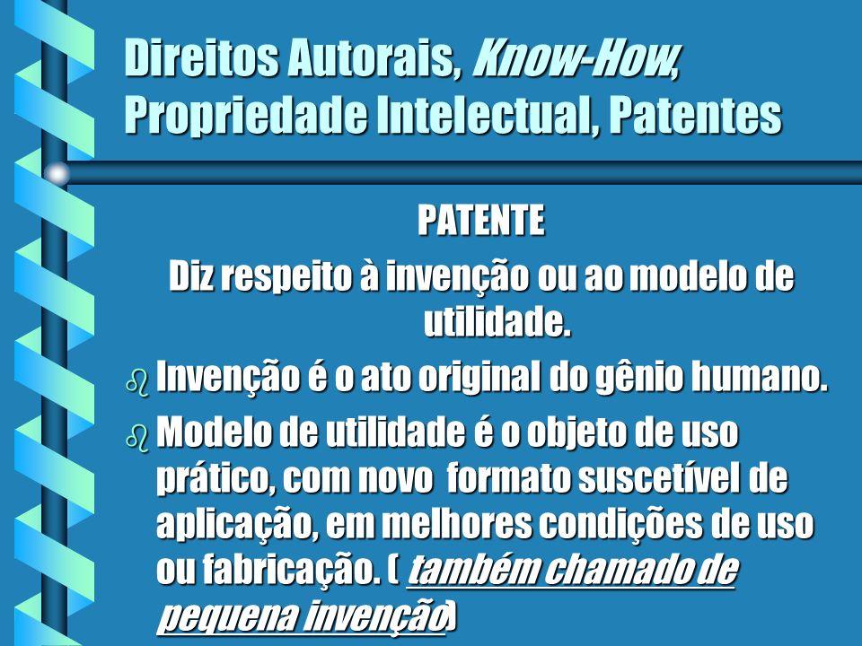 Direitos Autorais, Know-How, Propriedade Intelectual, Patentes PATENTE Diz respeito à invenção ou ao modelo de utilidade. b Invenção é o ato original
