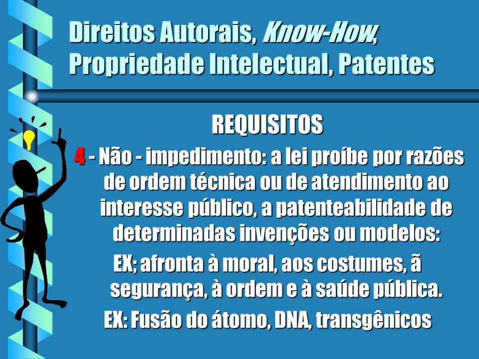 Direitos Autorais, Know-How, Propriedade Intelectual, Patentes PRAZOS depósito do pedidodepósito do pedido 20 anos 15 anos invenção modelo de utilidade utilidade * não haverá prorrogação