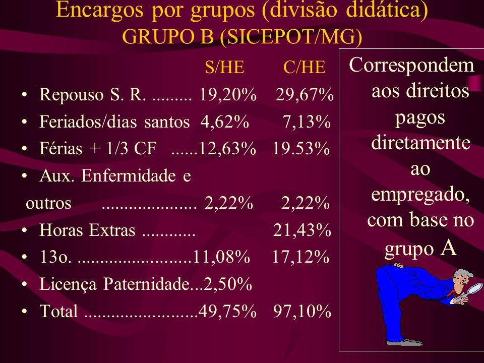 Encargos por grupos (divisão didática) (SICEPOT/MG) GRUPO A INSS..............