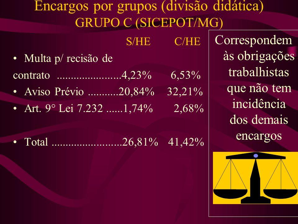 Encargos por grupos (divisão didática) GRUPO B (SICEPOT/MG) S/HE C/HE Repouso S.