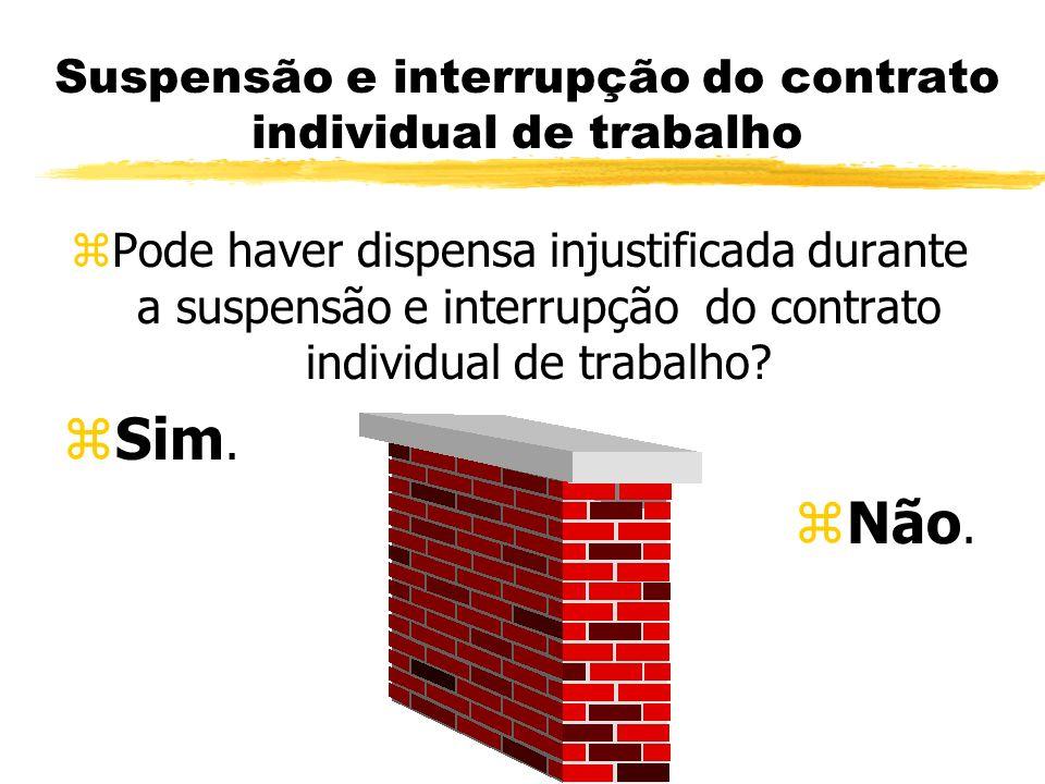Suspensão e interrupção do contrato individual de trabalho zPode haver dispensa injustificada durante a suspensão e interrupção do contrato individual de trabalho.