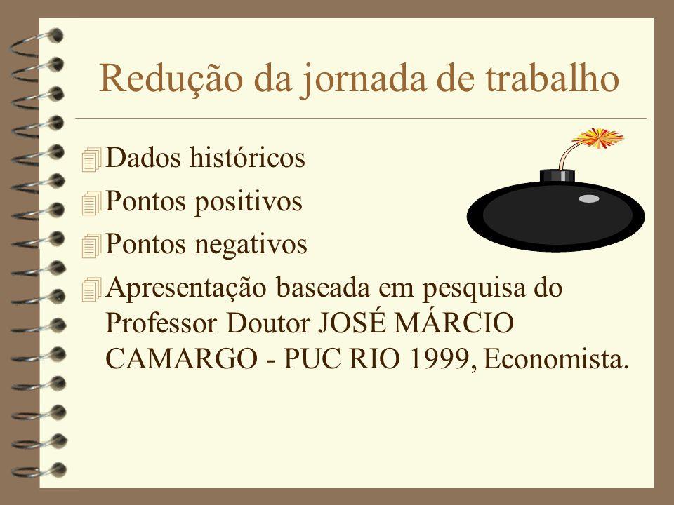 Redução da jornada de trabalho 4 Dados históricos 4 Pontos positivos 4 Pontos negativos 4 Apresentação baseada em pesquisa do Professor Doutor JOSÉ MÁ