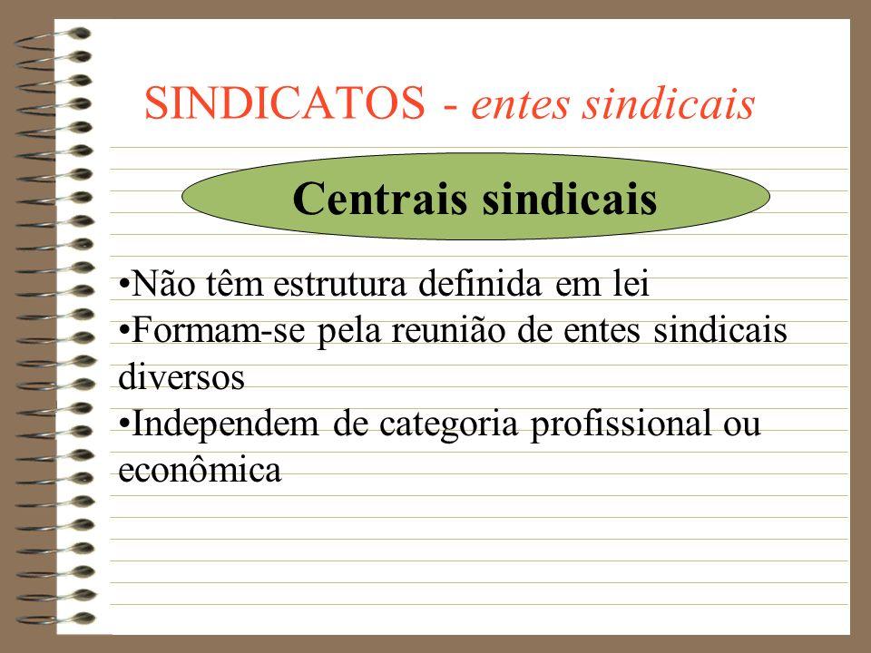 SINDICATOS - entes sindicais Confederação: é a associação de no mínimo três Federações organizadas em caráter nacional, com sede na Capital da Repúbli