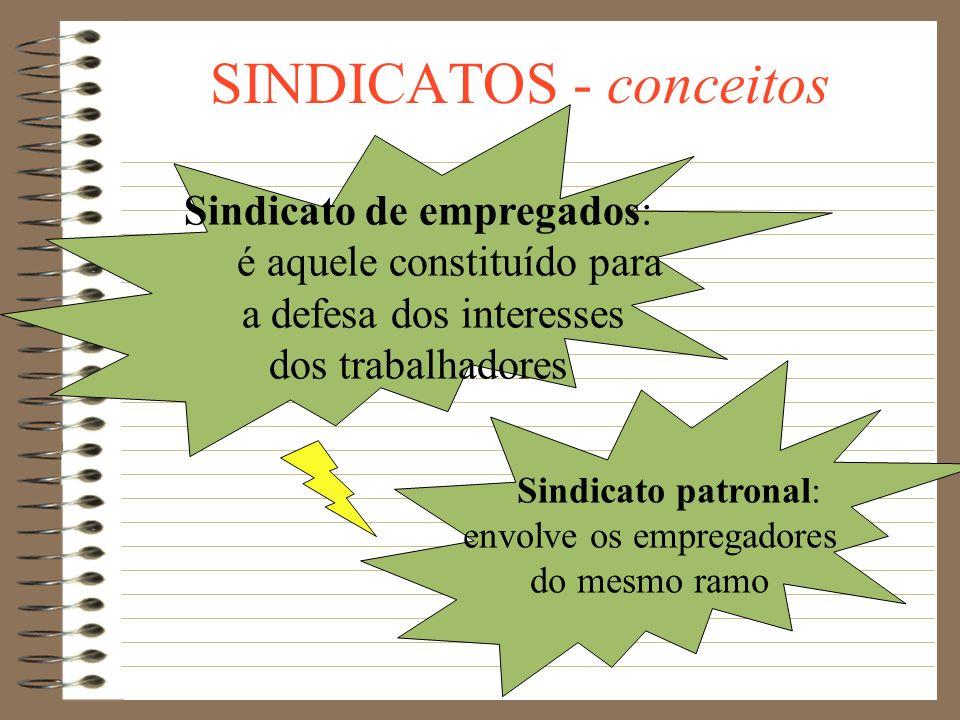 SINDICATOS - conceitos Syndicat = associação de pessoas de uma mesma categoria, visando defender seus interesses Categoria = é o universo de pessoas q