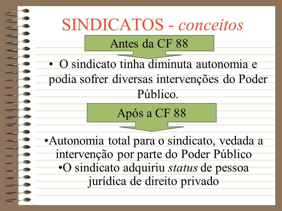 SINDICATOS - conceitos Sindicato de empregados: é aquele constituído para a defesa dos interesses dos trabalhadores Sindicato patronal: envolve os emp