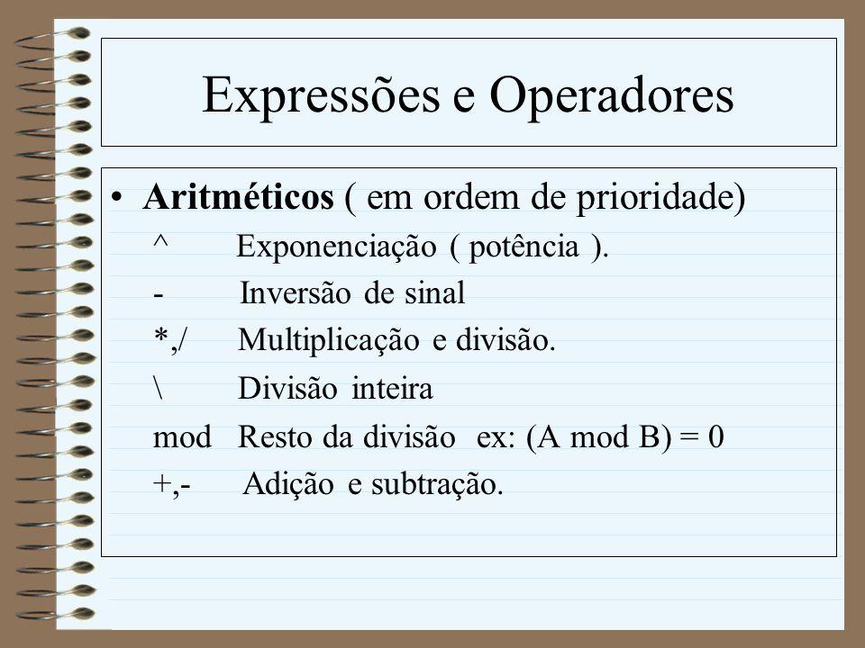 Expressões e Operadores Aritméticos ( em ordem de prioridade) ^ Exponenciação ( potência ). - Inversão de sinal *,/ Multiplicação e divisão. \ Divisão