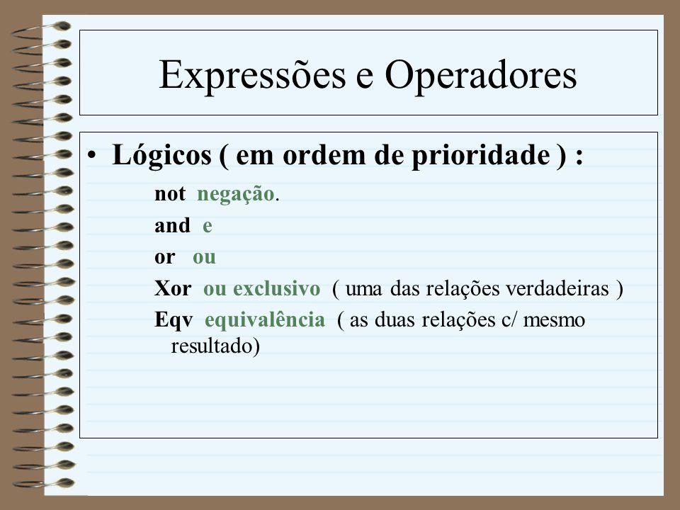 Expressões e Operadores Lógicos ( em ordem de prioridade ) : not negação. and e or ou Xor ou exclusivo ( uma das relações verdadeiras ) Eqv equivalênc