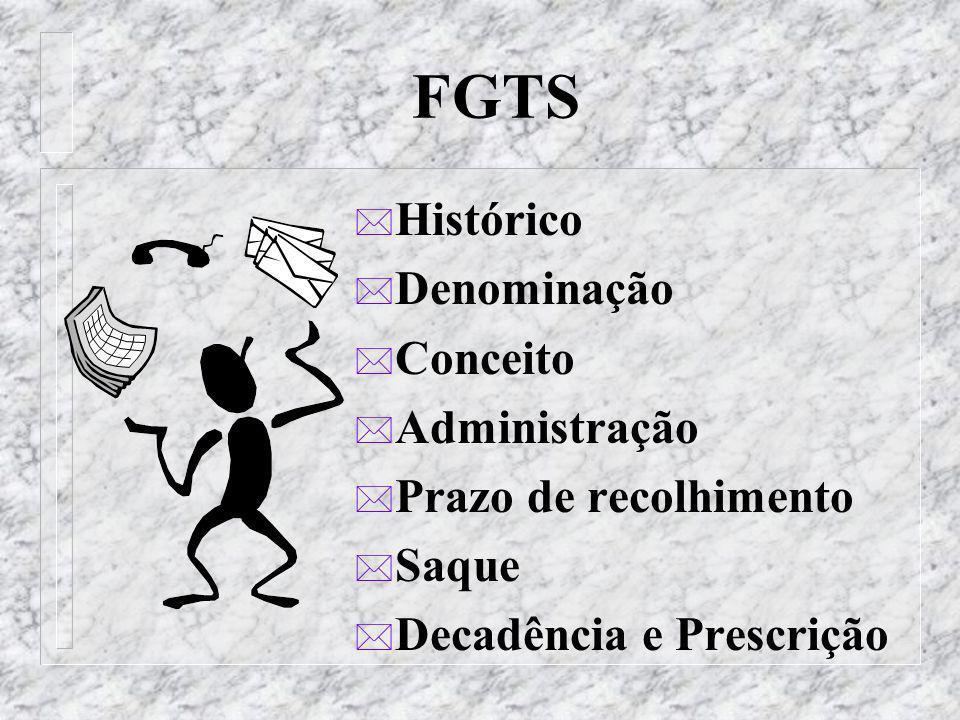 FGTS * Histórico * Denominação * Conceito * Administração * Prazo de recolhimento * Saque * Decadência e Prescrição