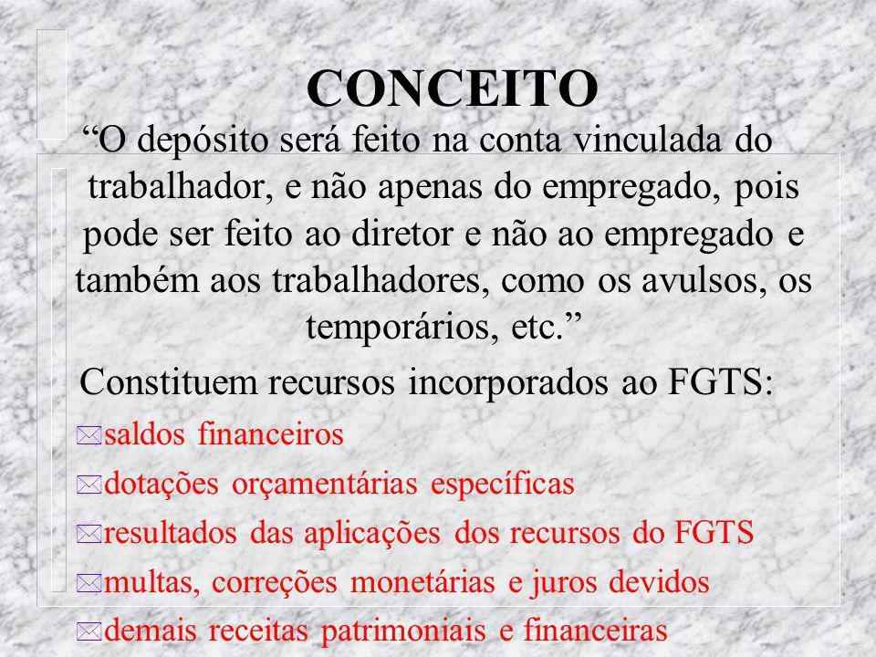 CONCEITO * O FGTS é um depósito bancário vinculado, pecuniário, compulsório, realizado pelo empregador em favor do trabalhador, visando formar uma esp