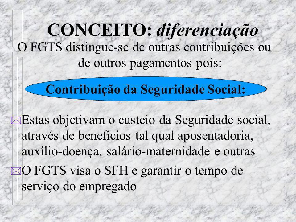 CONCEITO: diferenciação O FGTS distingue-se de outras contribuições ou de outros pagamentos pois: * O PIS é calculado sobre a receita bruta operaciona
