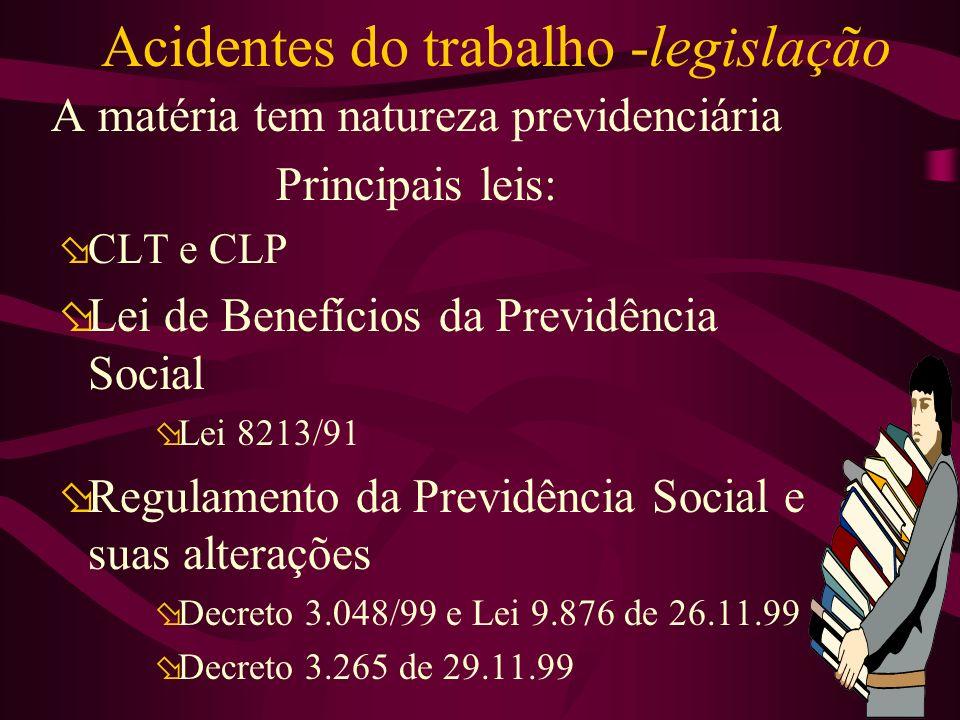 Acidentes do trabalho -legislação A matéria tem natureza previdenciária Principais leis: øCLT e CLP øLei de Benefícios da Previdência Social øLei 8213/91 øRegulamento da Previdência Social e suas alterações øDecreto 3.048/99 e Lei 9.876 de 26.11.99 øDecreto 3.265 de 29.11.99